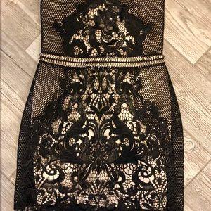 Express Dresses - Black Lace & Nude Mini Cocktail Dress
